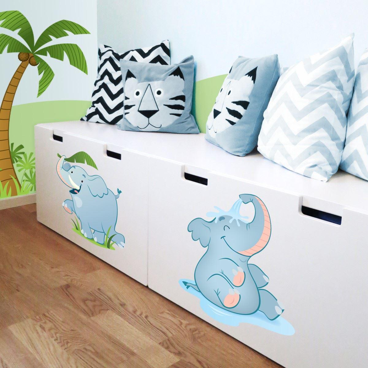 Adesivi murali elefante che si fa la doccia leostickers for Planner cameretta